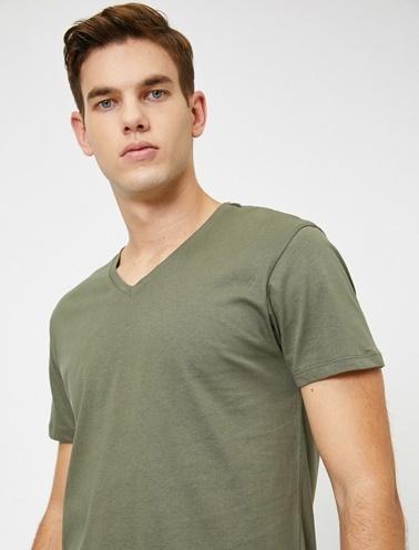 Koton V Yaka T-Shirt Yeşil
